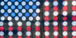 us flag over powerlines
